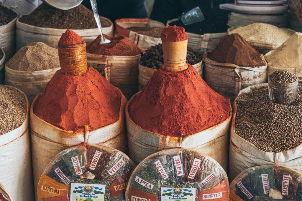 Spices at Chorsu Bazaar in Tashkent, Uzbekistan