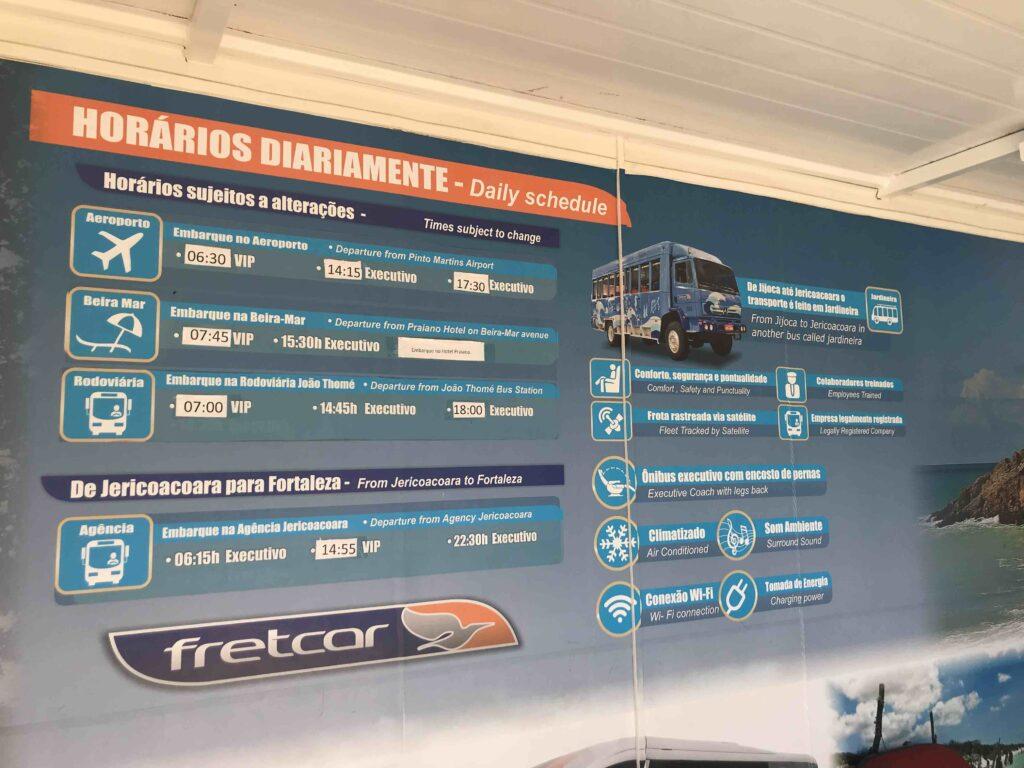 Pinto Martins: Fortaleza bus schedule to Jericoacoara
