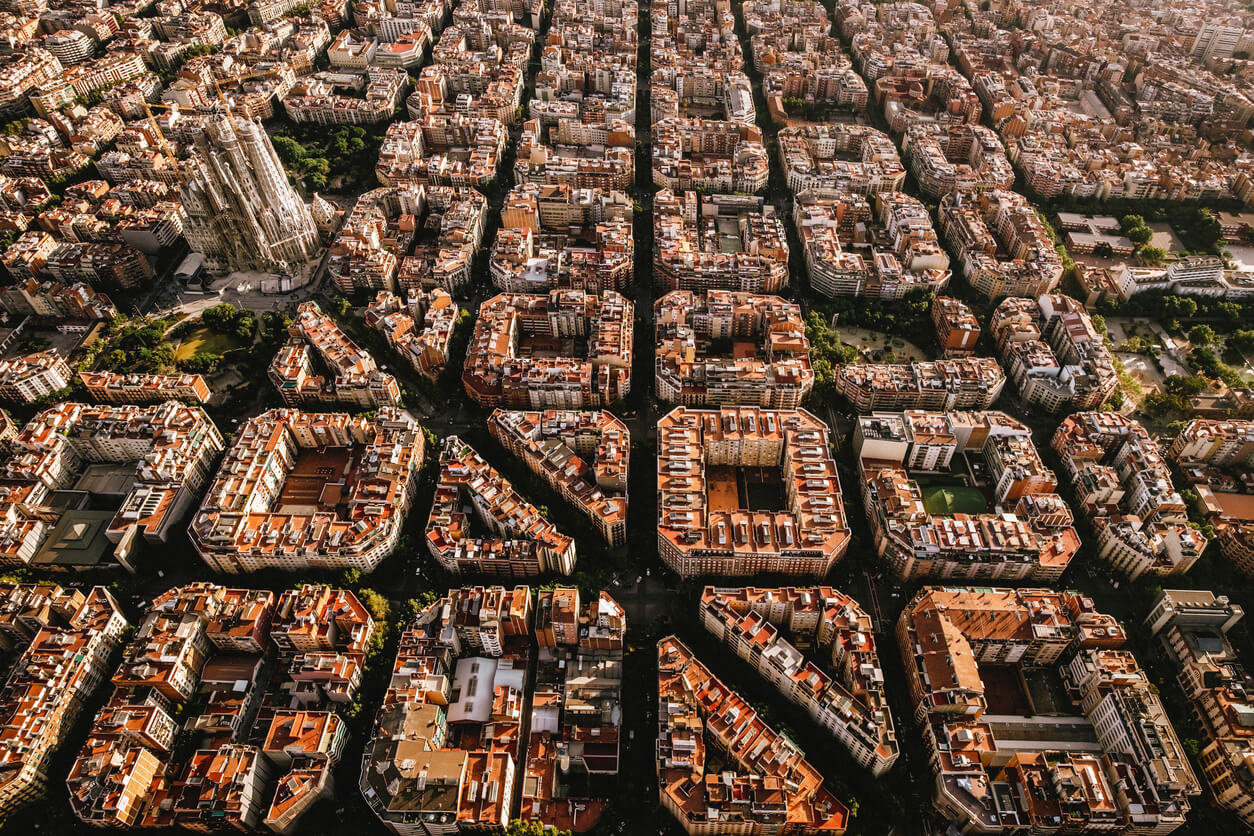 Aerial view of Eixample District, Barcelona